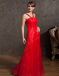 Empire V-neck Floor-Length Organza Evening Dress With Beading (017014835)