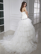 Ball-Gown Strapless Chapel Train Satin Organza Wedding Dress With Beading Cascading Ruffles (002015455)
