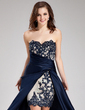 A-Line/Princess Sweetheart Asymmetrical Satin Prom Dress With Beading Appliques Lace Cascading Ruffles (018019168)