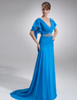 A-Line/Princess V-neck Court Train Chiffon Mother of the Bride Dress With Beading Cascading Ruffles (008006553)