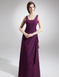 A-Line/Princess Scoop Neck Floor-Length Chiffon Mother of the Bride Dress With Ruffle Beading Split Front Cascading Ruffles (008016724)