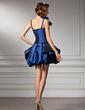 A-Line/Princess Sweetheart Short/Mini Taffeta Homecoming Dress With Ruffle Bow(s) (022020781)