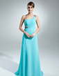 A-Line/Princess One-Shoulder Sweep Train Chiffon Mother of the Bride Dress With Ruffle Beading (008015537)