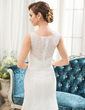 Trumpet/Mermaid Scoop Neck Sweep Train Lace Wedding Dress With Beading Sequins (002054357)