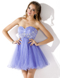 Empire Sweetheart Short/Mini Tulle Homecoming Dress With Ruffle Beading Appliques Lace (022021283)