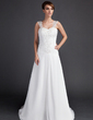 A-Line/Princess Sweetheart Court Train Chiffon Wedding Dress With Ruffle Lace Beading (002000061)