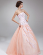 Ball-Gown Strapless Floor-Length Tulle Quinceanera Dress With Beading Appliques Lace Sequins (021020824)