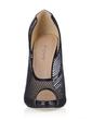 Women's Leatherette Stiletto Heel Peep Toe Pumps Sandals (047016565)