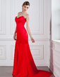 Trumpet/Mermaid Sweetheart Court Train Satin Evening Dress (017022528)