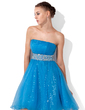 Empire Strapless Knee-Length Tulle Sequined Homecoming Dress With Ruffle Beading (022013110)