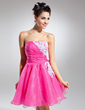 A-Line/Princess Strapless Short/Mini Organza Homecoming Dress With Ruffle Beading Appliques Lace Sequins (022015078)