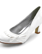 Women's Satin Stiletto Heel Closed Toe Pumps With Bowknot (047010759)