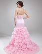 Trumpet/Mermaid Scoop Neck Court Train Satin Organza Prom Dress With Beading Cascading Ruffles (018018798)