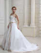 Ball-Gown Strapless Chapel Train Satin Wedding Dress With Embroidered Beading (002011668)
