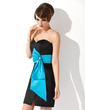 Sheath/Column Sweetheart Short/Mini Satin Cocktail Dress With Sash Beading (016020736)
