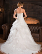 Ball-Gown One-Shoulder Court Train Organza Wedding Dress With Ruffle Flower(s) (002022678)