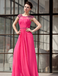 A-Line/Princess Scoop Neck Floor-Length Chiffon Evening Dress With Ruffle Beading (017022865)