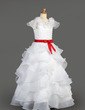 A-Line/Princess Floor-length Flower Girl Dress - Taffeta/Organza Sleeveless Scoop Neck With Ruffles/Sash/Flower(s)/Bow(s) (010007627)