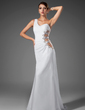 Trumpet/Mermaid One-Shoulder Sweep Train Chiffon Evening Dress With Ruffle Beading (017004345)