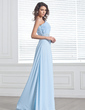 A-Line/Princess One-Shoulder Sweep Train Chiffon Prom Dress With Ruffle Beading Split Front (018020895)