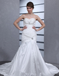 Trumpet/Mermaid Sweetheart Cathedral Train Taffeta Wedding Dress With Ruffle (002012046)