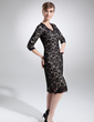Sheath/Column V-neck Knee-Length Charmeuse Lace Mother of the Bride Dress (008006294)