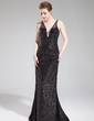 Trumpet/Mermaid V-neck Sweep Train Tulle Sequined Evening Dress (017019565)