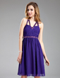 A-Line/Princess V-neck Short/Mini Chiffon Homecoming Dress With Beading (022019597)