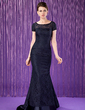 Trumpet/Mermaid Scoop Neck Sweep Train Lace Mother of the Bride Dress With Beading Sequins (008018690)
