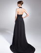 A-Line/Princess Halter Court Train Chiffon Holiday Dress (008015037)