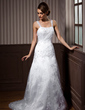 A-Line/Princess Sweetheart Court Train Lace Wedding Dress With Beading (002012140)