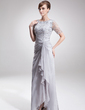 A-Line/Princess Scoop Neck Asymmetrical Chiffon Lace Mother of the Bride Dress With Split Front Cascading Ruffles (008005621)