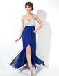 A-Line/Princess V-neck Floor-Length Chiffon Prom Dress With Beading Sequins Split Front (018005095)