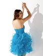 A-Line/Princess Sweetheart Short/Mini Organza Homecoming Dress With Beading Cascading Ruffles (022010619)