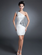 Sheath/Column One-Shoulder Short/Mini Charmeuse Mother of the Bride Dress With Ruffle Sequins (008015096)