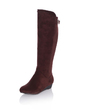 Suede Flat Heel Flats Mid-Calf Boots With Buckle shoes (088033433)