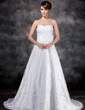 A-Line/Princess Sweetheart Court Train Lace Wedding Dress With Flower(s) Sequins Bow(s) (002017119)