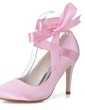 Women's Satin Stiletto Heel Closed Toe Pumps With Bowknot (047057097)