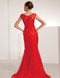 Trumpet/Mermaid Scoop Neck Court Train Lace Evening Dress With Beading Sequins (017014206)