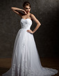 A-Line/Princess Sweetheart Court Train Taffeta Tulle Wedding Dress With Ruffle Beading Appliques Lace Sequins (002004967)