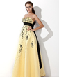Empire Sweetheart Floor-Length Satin Prom Dress With Embroidered Sash Beading Bow(s) (018002324)