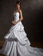 Ball-Gown Sweetheart Chapel Train Satin Wedding Dress With Ruffle Bow(s) (002000660)