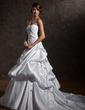 Forme Marquise Bustier en coeur Traîne mi-longue Satiné Robe de mariée avec Plissé À ruban(s) (002000660)