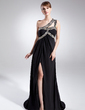 A-Line/Princess One-Shoulder Sweep Train Chiffon Mother of the Bride Dress With Ruffle Beading (008015845)