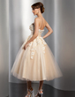 A-Line/Princess Strapless Tea-Length Satin Tulle Wedding Dress With Ruffle Lace Beading Flower(s) (002014765)
