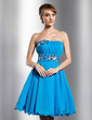 Empire Sweetheart Knee-Length Chiffon Homecoming Dress With Ruffle Flower(s) Sequins (022014798)