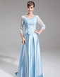 A-Line/Princess V-neck Sweep Train Charmeuse Mother of the Bride Dress With Beading Appliques Lace Sequins (008006181)