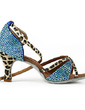 Women's Satin Heels Latin With Rhinestone Ankle Strap Dance Shoes (053018501)