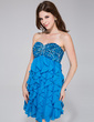 Empire Sweetheart Short/Mini Chiffon Sequined Homecoming Dress With Beading Cascading Ruffles (022027163)