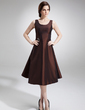 A-Line/Princess Scoop Neck Knee-Length Taffeta Mother of the Bride Dress With Beading (008005978)